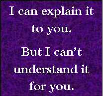 """I can explain it to you, but I can't understand it for you"""