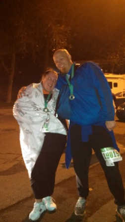Kelrick and I at the finish line with our hard won medals.