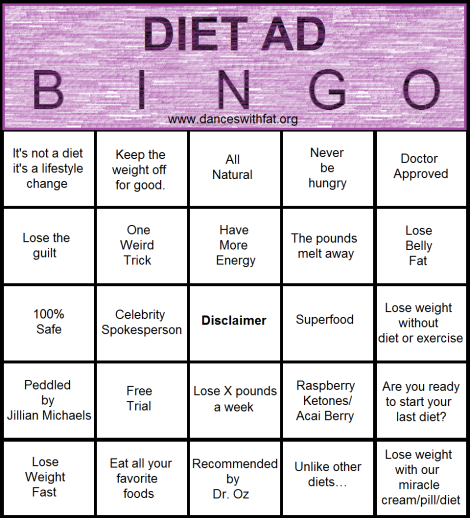Diet Ad Bingo | Dances With Fat